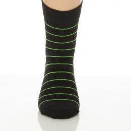 Gyerek zokni - Fekete zöld csíkos