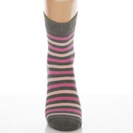 Klasszik zokni-Melírszürke pink csíkok