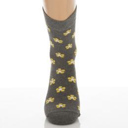 Klasszik zokni-Melírszürke sárga virág