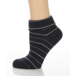 Sport visszahajtós zokni - sötétkék csíkos